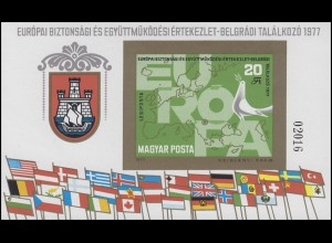 Block 126B KSZE-Konferenz Belgrad 1977, Block ungezähnt **