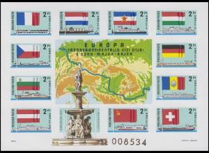 Block 128B Europäische Donaukommission 1977, Block ungezähnt **