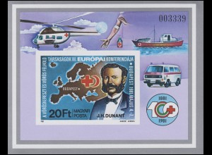 Block 149B Europäische Konferenz des Roten Kreuzes 1981, Block ungezähnt **