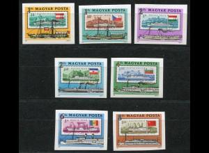 3514-3520B Europäische Donaukommission - Donauschiffe 1981, Satz ungezähnt **