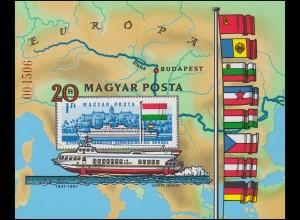 Block 153B Europäische Donaukommission: Tragflächenboot 1981, Block ungezähnt **