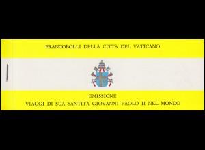 Vatikan-Markenheftchen 0-1 Die Weltreisen von Papst Johannes Paul II, **