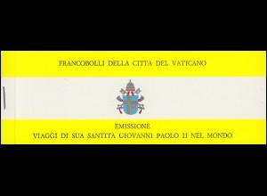 Vatikan-Markenheftchen 0-1 Die Weltreisen von Papst Johannes Paul II, O