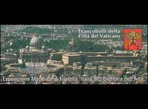 Vatikan-Markenheftchen 0-7 Briefmarkenausstellung ITALIA Mailand 1998, **