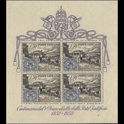 Block 1 Vatikan: Briefmarkenausgabe des Kirchenstaates 1852-1952, postfrisch **