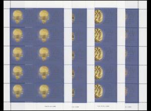 1386-1389 Kleinbogen Goldexponate des Etruskischen Museums, Kleinbogen-Satz **