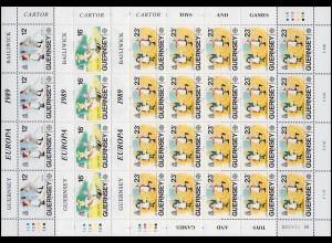 Guernsey 449-451 Europa Kinderspiele / Kinderspielzeug, Kleinbogen-Satz **