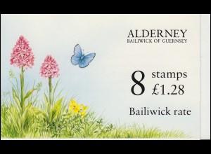 Guernsey-Alderney Markenheftchen 0-1, Fauna und Flora 1994 Bläuling, **