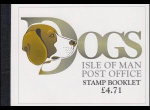 Isle of Man Markenheftchen 37, Hunde DOGS 1996, ** postfrisch