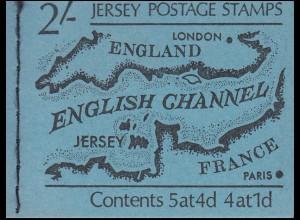 Jersey Markenheftchen 0-1, Karte des Ärmelkanals, **