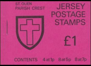 Jersey Markenheftchen 0-17, St. Queen's Parish Crest, nicht durchgezähnt **