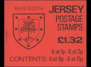 Jersey Markenheftchen 0-22, Wappen 1,32 Pfund 1981, **