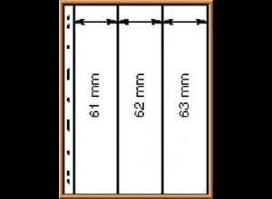 Lindner UNIPLATE 063, schwarz, 3 Streifen vertikal (Höhe 61-63 mm), 5 Blätter