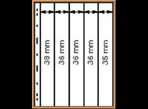 Lindner UNIPLATE 065 schwarz, 5 Streifen vertikal (Höhe 35-38 mm), 5 Blätter