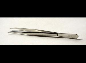 Pinzette 12 cm mit abgebogenen Spitzen, vernickelt
