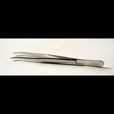 Pinzette 12 cm lang mit abgebogenen Spitzen, vernickelt