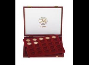 LINDNER Luxus-Kassette 2454 für 50 St. 2-Euro-Gedenkmünzen verkapselt